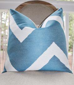 Designer Blue Pillow Cover - Blue Geometric Zig Zag Pillow - Throw Pillow - Decorative Chevron - Modern Blue Pillow by MotifPillows on Etsy https://www.etsy.com/listing/155142978/designer-blue-pillow-cover-blue