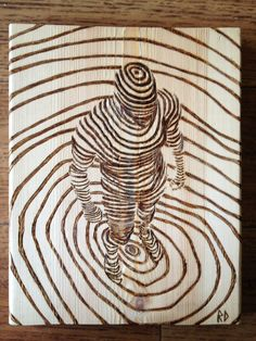 Line drawing Pyrography project based on http://www.pinterest.com/pin/388083692863748756/ The lines continue on the side giving it a bit of a 3D look