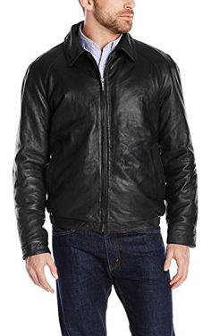 Nautica Men's Lambskin Leather Bomber Jacket, Black, X-Large ❤ Nautica Men's Outerwear