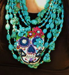 DIA DE LOS MUERTOS/DAY OF THE DEAD~ Handmade El Salto Sugar Skull Clay Pendant