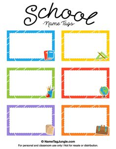 Free printable school name tags. The template can also be used for creating items like labels and place cards. Download the PDF at http://nametagjungle.com/name-tag/school/