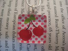 Cherries Glass Pendant Necklace with by UpNorthKnitsAndGifts, $12.00