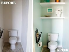 Use Every Inch - Don't squander the space hidden in your toilet's lonely nook. Easily installed floating shelves create a sleeker spot for bath essentials than a rickety standing rack. Small Bathroom Storage Ideas - Bathroom Organizing Tricks and Tips - Good Housekeeping