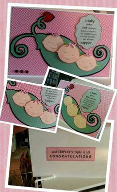 Baby Card for Triplets #cricut card #craft