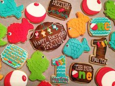 'The Big One' sugar cookies, 1st Birthday, Fishing theme by eam (royal icing cookies fish)