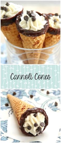 Cannoli Cones - An easy shortcut for your favorite dessert! Traditional ricotta filling is stuffed into sugar cones! Beaux Desserts, Just Desserts, Delicious Desserts, Yummy Food, Easy Italian Desserts, Mini Desserts, Christmas Desserts, Dessert Cannoli, Holy Cannoli