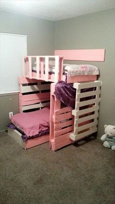 30 Inspiration Picture of Pallet Furniture Bedroom Kids . Pallet Furniture Bedroom Kids Pallet Furniture 10 Things To Build With Pallets 101 Pallets Pallet Bunk Beds, Pallet Bed Frames, Loft Bunk Beds, Kids Bunk Beds, Kids Bedroom Furniture, Diy Pallet Furniture, Bedroom Kids, Kids Room, Furniture Ideas
