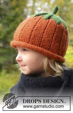 Sweet pumpkin #knit hat for kids in DROPS Karisma #halloween