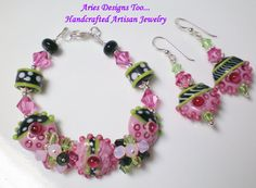 Abstract Bracelet and Earrings Set in Pink by ariesdesignstoo
