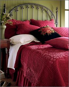 One of my favorite beds ever~ in Spiegel Catalog many years ago. love the red and sage