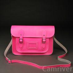 "Womens Ladies Vintage cambridge satchel Shoulder Bag fluro-pink size14"""