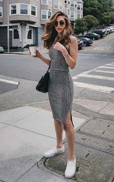 Vestido com Alpargata ou Slippers - Como Usar Vestido e Tênis - Inspirações