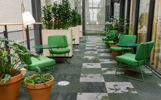"Exploring projects that are inspired by outdoor spaces, we find an commercial project at a university in Sweden that has a ""lawn"" made entirely from carpet tiles… Carpet Tiles, Outdoor Decor, Carpet, Chalmers University, Tiles, Outdoor Spaces, Commercial Interiors, Multipurpose Room, Home Decor"