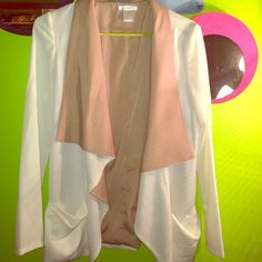 Esley cream & beige blazer Beautiful blazer, which is a soft, flowing fabric. It can be casual with jeans or dressed up with a pencil skirt. That perfect day and night piece! Only worn once! Esley Jackets & Coats Blazers