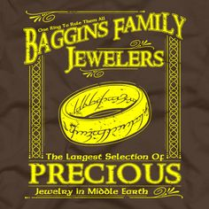 [Baggins Family Jewelers] by FiveFingerTees Artist is being reviewed on www.ShirtRater.com!  #baggins #hobbit #jrr tolkien #lord of the rings #t-shirt