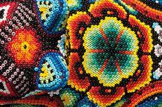 Huichol bead art, Mexico - Beautiful example of textile beading. #art #artios #homeschool