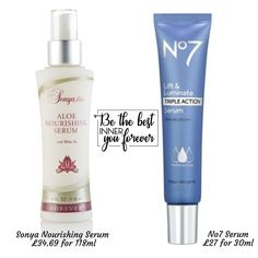 Comparison with a high street product, who doesn't like value for money. Plus I know I would prefer to use a natural product with the Sonya nourishing serum. Aloe Vera, Forever Aloe, Forever Living Products, How To Better Yourself, Health And Beauty, Wealth, Serum, Beauty Products, Passion