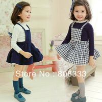 2014 Spring Korean Style girls strap suspenders overalls skirt + long-sleeved T-shirt set kids clothes suits vestidos chicas