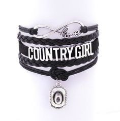 Show everyone you are sweet and simple through and through with our Country Girl bracelet. All of the cords and braids pictured are connected in the back along with a lobster clasp and extension chain
