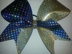 Navy and gold w silver sequins Cheer Bow by BlingItOnCheerBowz