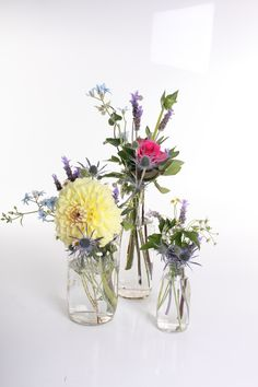 Jar flower centrepieces - Rustic wedding flowers made by Amy's Flowers