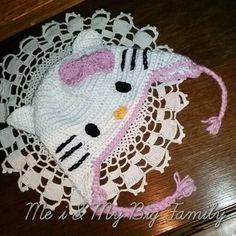 Hello kitty mössa, hat Virkad,crochet