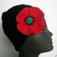 Hand knitted black beanie, cloche hat with red poppy on eBid United Kingdom Knitted Poppies, Kitten Mittens, Poppy Brooches, Black Beanie, Cloche Hat, Red Poppies, Beanie Hats, Hand Knitting, Knit Crochet