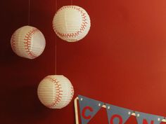 paper lanterns made into baseballs