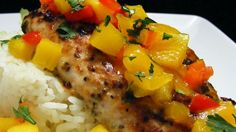 Mahi Mahi with Coconut Rice and Mango Salsa Recipe Fish Recipes, Seafood Recipes, Dinner Recipes, Cooking Recipes, Healthy Recipes, Dinner Ideas, Paleo Meals, Whole30 Recipes, What's Cooking