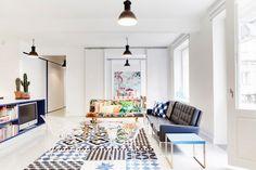 Linda Bergrothin suunnitteleman kodin olohuone. Makea!