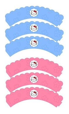 Free printable - Hello Kitty Cupcake Wrappers in pink or blue: