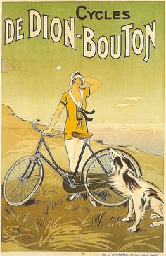 De Dion Bouton by Fournery 1925 France - Vintage Poster Reproduction. This French transportation poster features a woman on a windy cliff overlooking the sea with her dog and bicycle against a green sky. Vintage French Posters, Images Vintage, Vintage Advertising Posters, Vintage Travel Posters, Vintage Advertisements, Vintage Ads, French Vintage, Bike Poster, Retro Poster