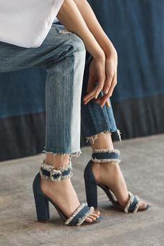Trends – Anthropologie's Patchwork and Embroidered Denim – Chic+Fab+Love Denim Sandals, Denim Shoes, Sock Shoes, Strappy Sandals, Flat Shoes, New Shoes, Shoe Boots, Denim Jeans, Navy Women