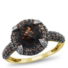 10K Yellow Gold, Smoky Quartz and Diamond Ring. Part of the Matisse Collection. Bold Use of color. Intricate. Handcrafted Settings are why this collection is named after an artist.