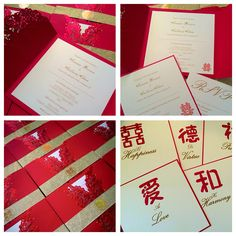 Chinese themed invitations and hand painted table name cards by made marvellous Table Name Cards, Table Names, Handmade Wedding Invitations, Invites, Chinese, Symbols, Hand Painted, Icons, Homemade Wedding Invitations