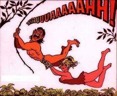 How Tarzan Got his Yell Cartoon Jokes, Funny Cartoon Pictures, Funny Picture Jokes, Funny Cartoons, Funny Comics, Funny Jokes, Adult Cartoons, Adult Humor, Tarzan