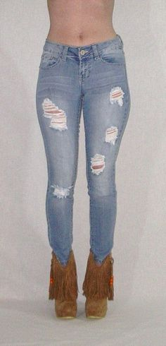 Destroyed Faded Skinny Jeans Stretch Denim Distressed Five Pocket Boho  Hippie Gypsy Pants Sizes 1 d4bcf5d9c142