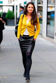Katie Holmes, black pantyhose
