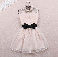 2014 New Arrival Fashion Pearl Diamond Casual Dress  Small Lapel Gauze Waist Tutu Party One-piece dress  0105