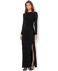Lauren Ralph Lauren Long-Sleeve Sheer-Panel Gown | Ralph lauren long sleeve,  Gowns and Stretch fabric