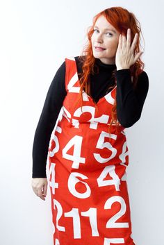 """""""Xmas Countdown: 7, 6, 5... """" – A number dress from a 70s or 80s vintage curtain (Photo: Sininen Kuva, Sipoo FIN)  ⎮  recyclie.blogspot.fi"""