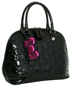 """HELLO KITTY BLACK PATENT EMBOSSED TOTE BAG  $70.00  HELLO KITTY BLACK SHINY FAUX LEATHER TOTE WITH EMBOSSED DETAIL. 14""""X 11""""X 6""""."""