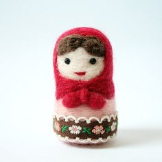 Needle felted doll - wool felted Matryoshka doll red and pink von CattaDolls auf Etsy
