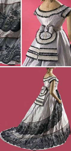 Ballgown, 1866. Silk taffeta in purple and silver-gray stripes, with applications of Chantilly lace. Musée Galliera, Musée de la Mode de la Ville de Paris