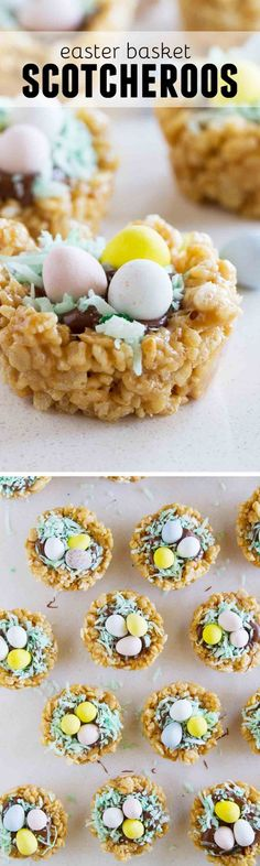 Easter treats have never been so delicious! These Easter Basket Scotcheroos take a favorite dessert and turn them into a fun Easter treat.: