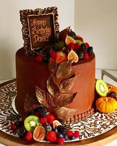 Elegant Fall Birthday Cake Covered With Dark Swiss Chocolate