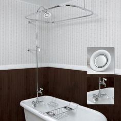 Vintage style bath tub kit   faucet  shower head  shower curtain ring   A  Real Home   Pinterest   Clawfoot tub shower  Tubs and Shower curtain ringVintage style bath tub kit   faucet  shower head  shower curtain  . Shower Curtain Ring For Clawfoot Tub. Home Design Ideas