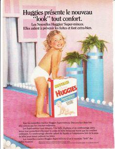 Bilderesultat for huggies ultratrim vintage Vintage Advertisements, Ads, Pvc Hose, Huggies Diapers, Diaper Sizes, Baby Pants, Retro, Campaign, French