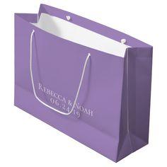 Simple Minimalist Elegant Lavender Text Wedding Large Gift Bag