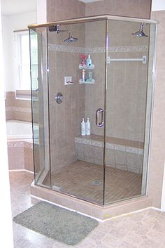 big shower stall master bath love the bench